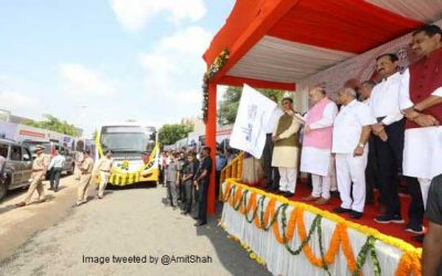Shah lauds Mission Million Trees, flags off EV buses